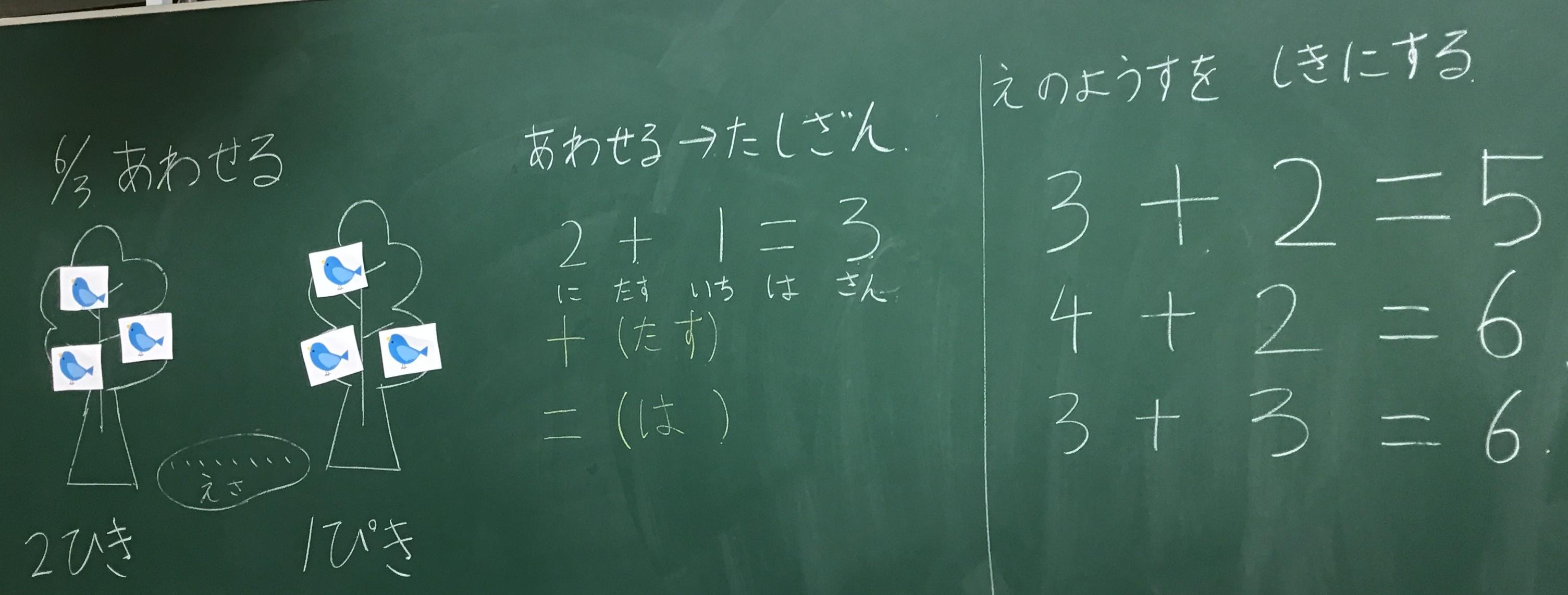 本日の授業 1年生 算数 足し算あわせるといくつ絵の様子を